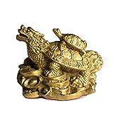 Feng Shui Brass Distinctive Dragon Turtle/Tortoise Statue Home Decor Collection