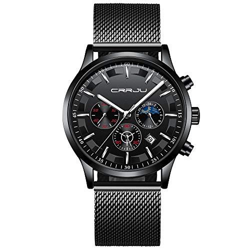 CRRJU Men Stainless Steel Mesh Quartz Watch Waterproof Watch Multi-Function Chronograph Date Display Wristwatch