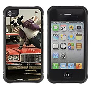 Hybrid Anti-Shock Defend Case for Apple iPhone 4 4S / Abstract Cow Jumping