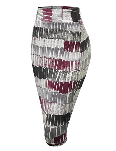 Made By Johnny WB1304 Womens Print Midi Pencil Skirt XL Wine_Black by Made By Johnny (Image #1)