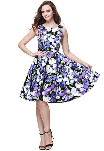 Buenos Ninos Women's Classic 1950s Printed Vintage Retro Rockabilly Party Ball Swing Dress Purple Flower XXL