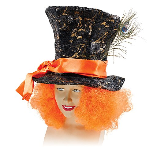 Mad Oversized Top Hat - Black Mad Hatter Hat With Hair