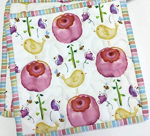 Pot holders Lollipop Flowers and Birds Quilted Set of Two Handmade Spring