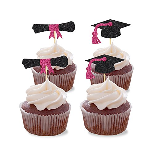 SFVAN Graduation Cupcake Toppers Magenta Glitter Hat Party Decorations Cake Picks Supplies 36pcs