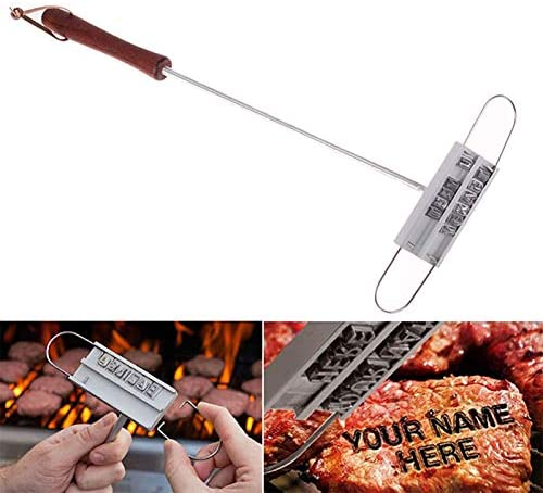 43CM BBQ Ing Iron Tong 55 Lettres Barbecue Lettre Imprimé Anti-Adhésif Steak Outil Viande Grill Fourches Barbecue Outil Sliver
