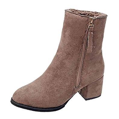3873eac91e57 OSYARD Chaussures de Neige Femme Hiver Mi-Bottes Femme Chic Bottines sur  Suede Chaussures à Fermeture éclair Mode Epais Velours Doublure Peluche   Amazon.fr  ...