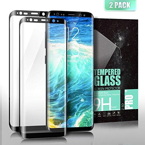 SGIN Vetro Temperato Galaxy S8, [2 Pack] 3D Completa Pellicola Protettiva Alta Definizione, Anti-graffio, Anti-impronte, Ultra-Clear Screen per Samsung Galaxy S8 - ?Nero?