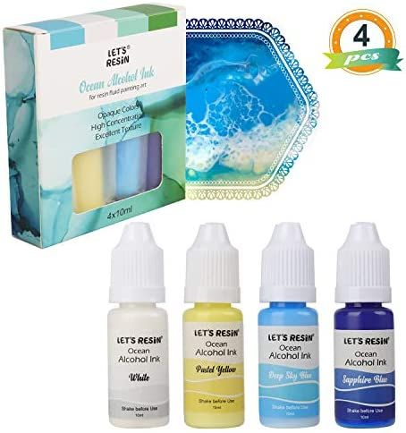 LET`S RESIN Ocean Alcohol Ink- High Pigmented Alcohol-Based Inks Each Bottle 0.35oz New Opaque Alcohol Inks for Resin Fluid Painting ArtResin Ocean Art-Deep Blue Colors Set