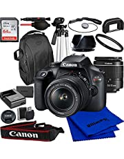 Canon EOS Rebel T100/4000d DSLR Camera with 18-55mm f/3.5-5.6 Zoom Lens and Advanced Accessory Bundle: Bundle Includes - SanDisk Ultra 62GB Memory Card, Tripod, Backpack,& Much More (18pc Bundle)