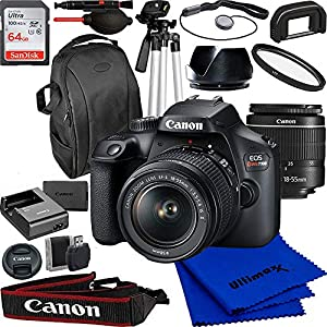 Canon EOS Rebel T100/4000d DSLR Camera with 18-55mm f/3.5-5.6 Zoom Lens and Advanced Accessory Bundle: Bundle Includes…