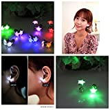 Namsan 1 Pair LED Earrings Glowing Light Up with Star Type Ear Drop Pendant Stud Stainless for Rave Party-White Light