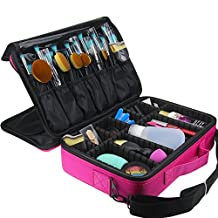 Makeup Train Case, FLYMEI® Large Space Cosmetic Organizer Professional Make Up Artist Storage for Cosmetics, Makeup Brush Set, Jewelry, Toiletry, Travel Accessories with Shoulder Strap - Pink