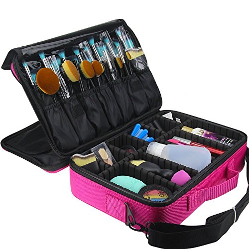 Professional Makeup Train Case, FLYMEI 3 Layer Cosmetic Organizer Make Up Artist Storage with Shoulder Strap for Cosmetics, Makeup Brush Set, Jewelry, Toiletry, Travel Accessories, Pink, 16 Inches