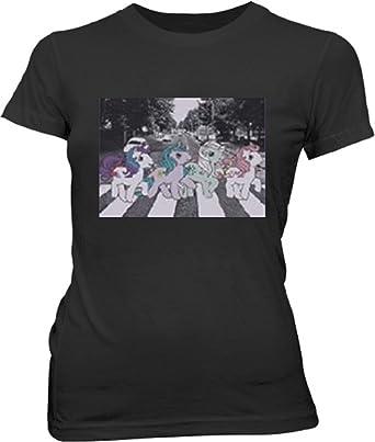 My Little Pony Friendship Is Magic Pony Road Damen Schwarz T-shirt:  Amazon.co.uk: Clothing