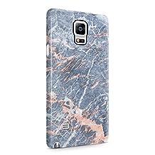 Grey Granite & Peach Strips Marble Print Hard Plastic Phone Case For Samsung Galaxy Note 4