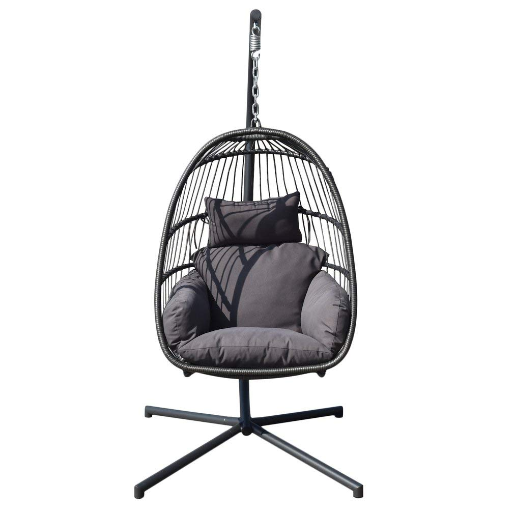 DreamlandS Hanging Egg Chair Indoor Outdoor Nordic Patio Swing Hanging Basket Chair Balcony Chair Nest Chair Hammock Chair with Cushion and Stand (1 Person, Black 2)