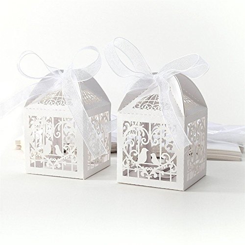 50 Wedding Favors Candy Sweet Boxes Party Gift Boxes with Ribbons Laser Cut Pearl Paper for Wedding Party Birthday Decoration