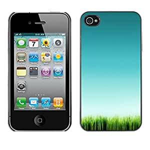 Soft Silicone Rubber Case Hard Cover Protective Accessory Compatible with Apple iPhone? 4 & 4S - grass green nature clean pure