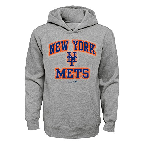 Mets Sweatshirts - OuterStuff MLB Youth Boys 8-20 Mets Grey fleece Hoodie, M(10-12)