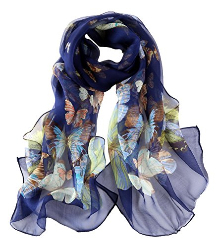 Long Georgette Silk Scarf Butterfly Print (Print Long Scarf)