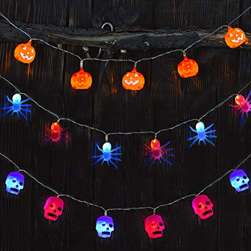 FUN LITTLE TOYS Halloween Decorations 3 Pack Halloween String Lights with Pumpkin, Skull and Spider, 30 LED Lights for Halloween Party Decoration -