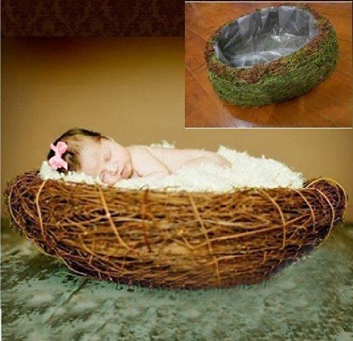 Newborn baby infant photography prop handmade woven basket D-19