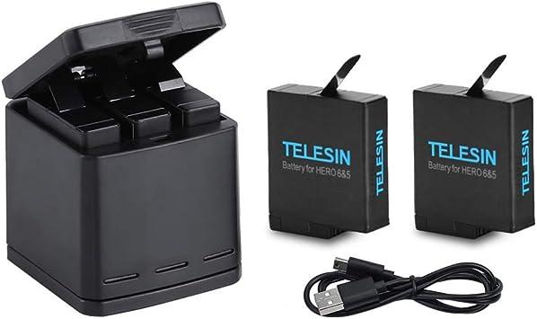 TELESIN Cargador Triple y Batería Kit Caja de Carga/Almacenamiento ...