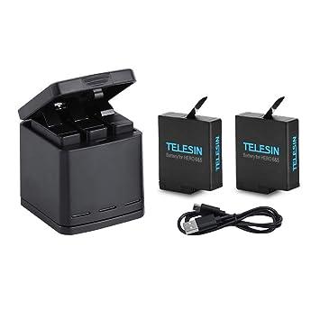 TELESIN Cargador Triple y Batería Kit Caja de Carga/Almacenamiento con 2 Baterías y USB Type-C Cable para GoPro Hero 2018, Hero 5 6 7 Black Action ...