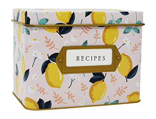 Jot & Mark Decorative Tin for Recipe Cards | Holds Hundreds of 4x6 Cards (Lemon Zest)