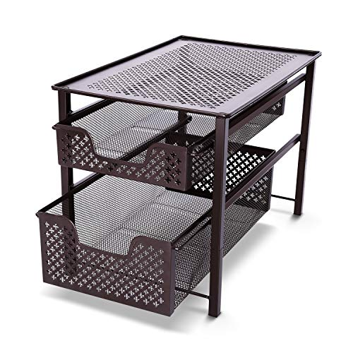 Simple Trending Stackable Under Sink Organizer 2 Tier Sliding Basket Cabinet, Bronze