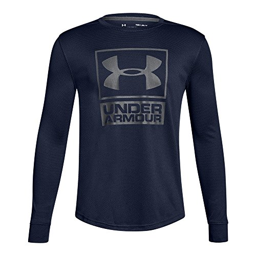 Under Armour Boys' Tech Textured Crew, Midnight Navy/Graphite, Youth Large