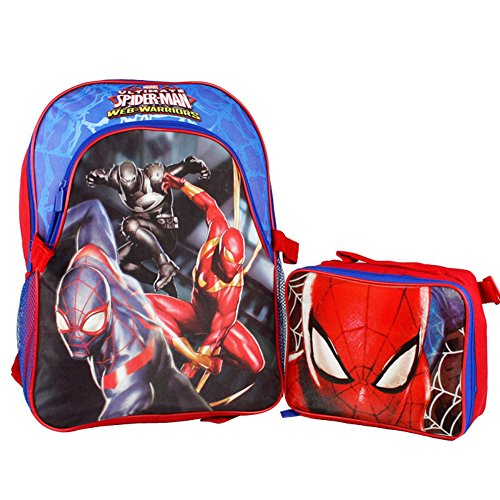 Marvel Ultimate Spider-Man 16' Large School Backpack- Attachable Insulated Lunch Box Web Warriors