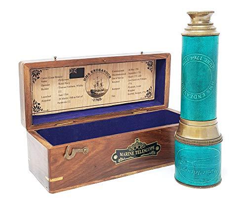 Brass Nautical - 18 inches Brass Ship Captain's Telescope Brass Spyglass in Hardwood Box from Brass Nautical