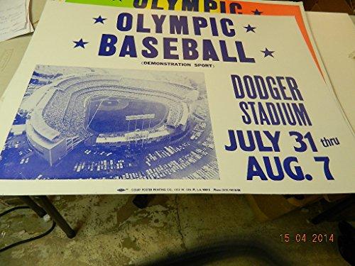 Baseball Olympics 1984 (10 1984 Olympic Baseball Dodger Stadium Advertising Poster Display July 31-Aug 7)
