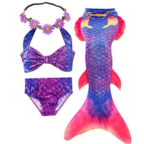 GALLDEALS 3PCS Girls' Swimsuit Mermaid Tail for Swimming Princess Bikini Set Swimsuit Bathingsuit (No Monofin) Purple