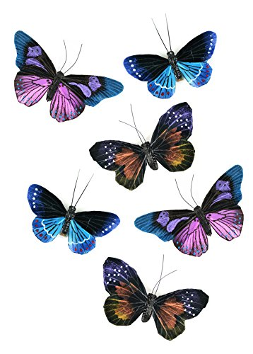 Set of 6 Large Natural Feather Butterflies with Clip 4.75 inch for Home Decoration, Floral Arrangements, Wreaths and Arts & Crafts by Clever Home
