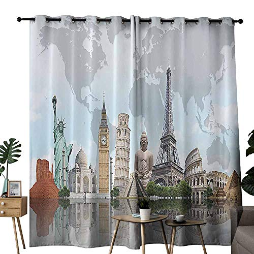 Mannwarehouse City Decor Durable Curtain Cityscape World Monuments 7 Wonders Eiffel Pisa Big Ben Decor Architecture Art Print Privacy Protection W84 x L96 Blue Gray Green Beige and Tan