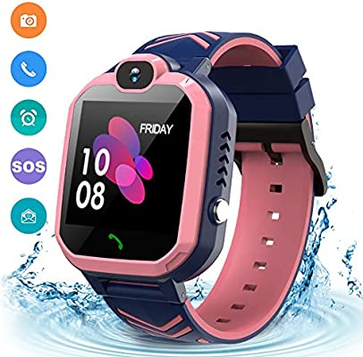 Kids Waterproof Smart Watch Phone, GPS/LBS Tracker Smart Watch for Kids for 3-12 Year Old Compatible iOS Android Games SOS Alarm Clock Camera Smart ...