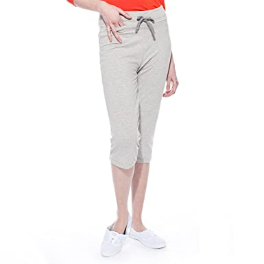67e416eb0450ca LNBF Women's Viscose from Bamboo Relaxed Workout Capri (XS, Grey Melange)