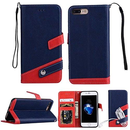 iPhone 7 plus レザー 手帳型 ケース マルチ カラー Diary case カード収納 液晶保護フィルム 付 スタンド機能付き イヤホンコードクリップ iphone 8 plus 本革風カバー マグネット式 アイフォン7プラスケース 5.5インチ対応 (iPhone 7 Plus, ネイビー)
