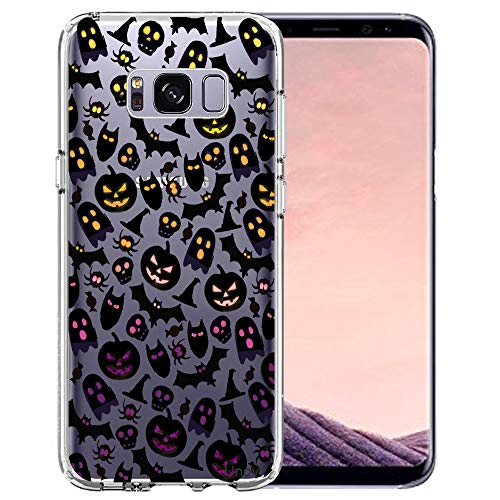 Samsung Galaxy S8 Case, Unov Clear with Design Soft TPU Shock Absorption Slim Embossed Pattern Protective Back Cover for Galaxy S8 (Skull Bat Cat Spider) ()