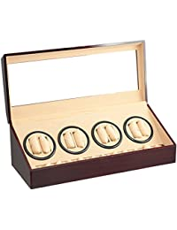 BRAND NEW RED WOOD 8+12 AUTOMATIC QUAD DUAL / DOUBLE WATCH WINDER 12 DISPLAY STORAGE BOX CASE