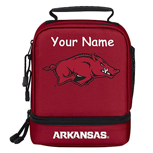 Personalized University of Arkansas UA Razorbacks Officially Licensed Lunchbox Lunch Bag Tote with Custom Name