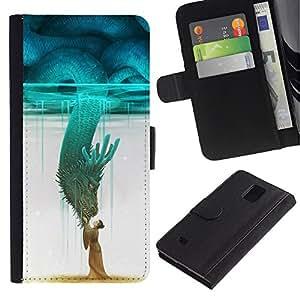 For Samsung Galaxy Note 4 IV Case , Teal Monster Japan Hero Sky - la tarjeta de Crédito Slots PU Funda de cuero Monedero caso cubierta de piel