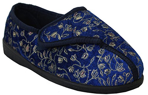Neu Damen Klettverschlussband Waschmaschinenfest Weite Passform Diabetiker Orthopédique Pantoffeln Schuhe UK Größen 3-8 Navy