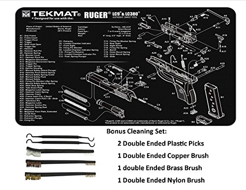 TekMat 11-Inch X 17-Inch Handgun Cleaning Mat with Ruger LC9 Imprint Bonus 5 oc Gun Cleaning Brush & Pick Set by EDOG