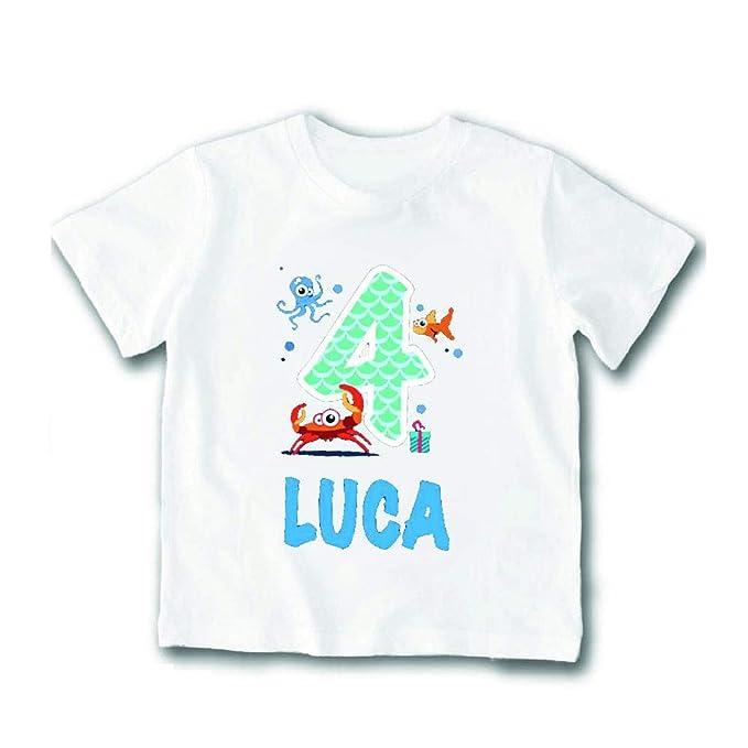 T-Shirt Bimbo Maglietta Personalizzata per Feste di Compleanno Nome  Personalizzato 4 Anni Maglia Bambino per Compleanni  Amazon.it   Abbigliamento 74864410b332