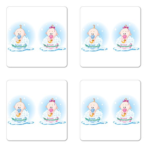 Ambesonne Gender Reveal Coaster Set of 4, Girl and Boy Babies in Bath with Bubbles Duck Toddler Picture Print, Square Hardboard Gloss Coasters for Drinks, Multicolor