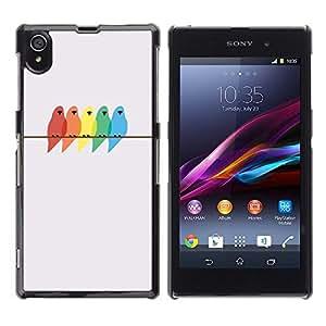Colores Pájaros Pintura Abedul minimalista - Metal de aluminio y de plástico duro Caja del teléfono - Negro - Sony Xperia Z1 L39
