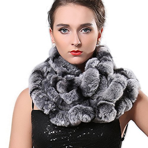 [FURTALK Women's Rex Rabbit Fur Infinity Scarves Cowl Snood Scarf Flower Brim] (Chinchilla Fur Coat)
